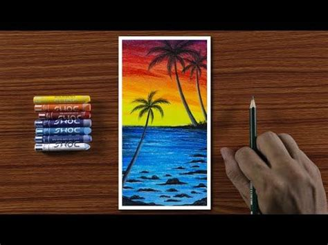 Easy Beautiful Beach Scenery Drawing for Beginners with
