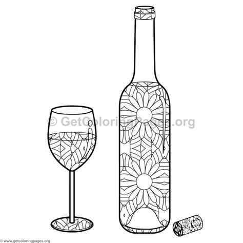 Wine Bottle and Glass Coloring Pages #10