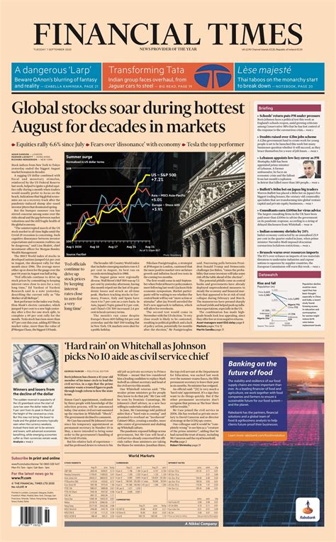 Financial Times Front Page 1st of September 2020