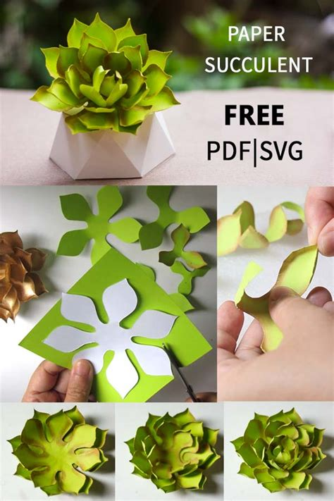 How to make paper succulent, free PDF and SVG template