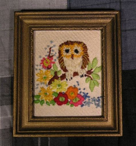 Framed Owl Embroidery   Etsy   Owl embroidery, Owl, Embroidery