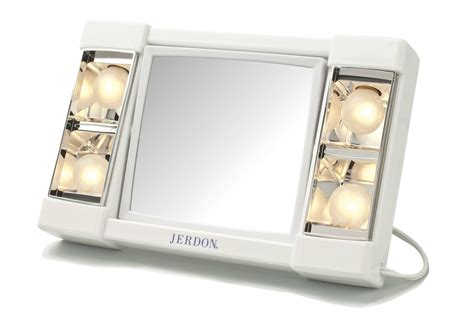 Jerdon Tabletop Tri-Fold 2-Sided Lighted Makeup Mirror