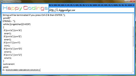 Program to calculate frequency of vowels in a string c
