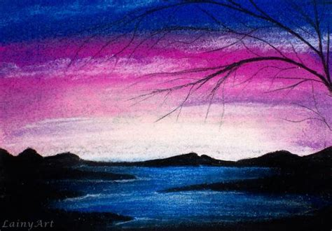 Items similar to Blue Sunset - ACEO soft pastel drawing