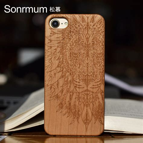 Lion Customized Name Carved Natural Wood Phone Cases For