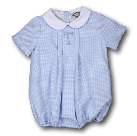 Blue Gingham Seersucker Boys Bubble | Smocked clothes