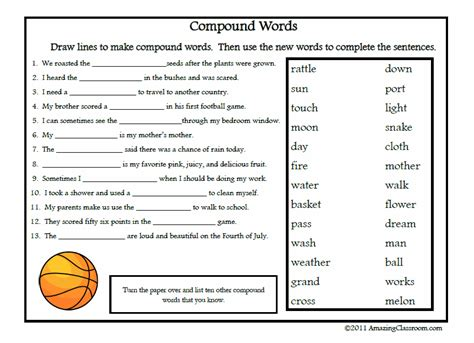 Compound Words Printable Worksheet with Answer Key