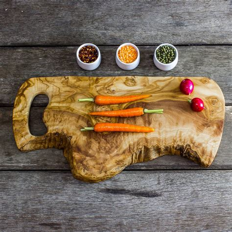 Large Rustic Olive Wood 45cm Chopping Board By The Rustic