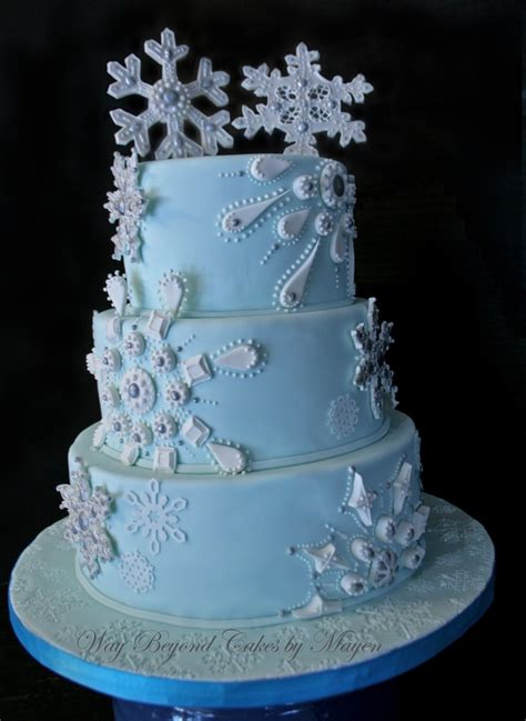 Snowflake Themed Wedding Cake - CakeCentral