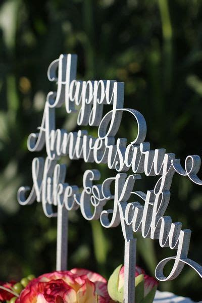 Happy Anniversary (First Names) Personalized Cake Topper