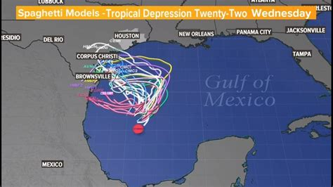 Track Tropical Depression 22 in Gulf of Mexico, to become