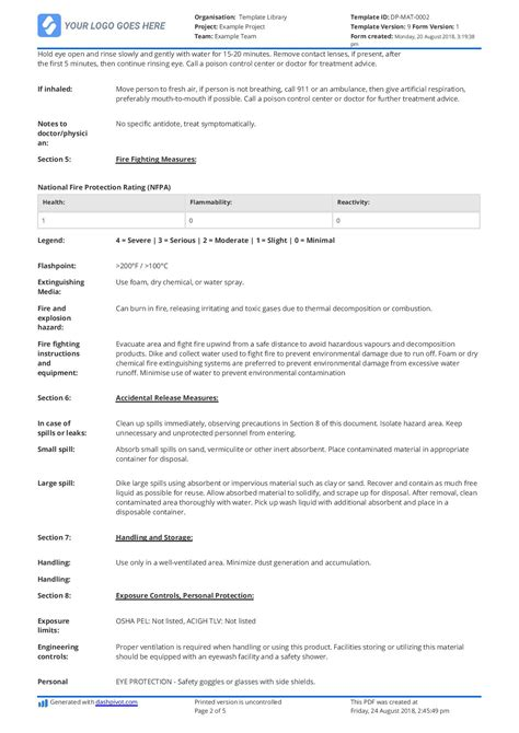Example of Material Safety Data Sheet (MSDS) - Free and