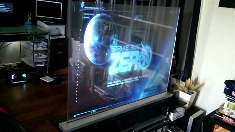 transparent holographic screen game play - YouTube
