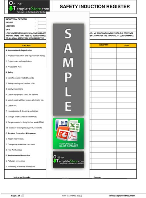 Health & Safety forms   Construction Templates