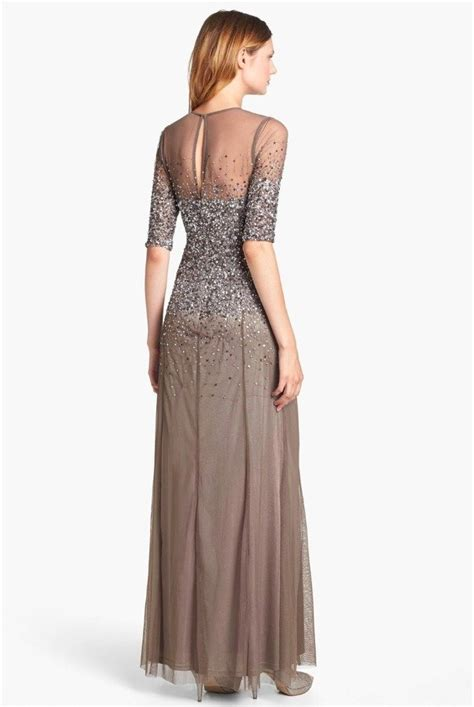 Adrianna Papell Beaded Illusion Gown Mother of Bride Dress
