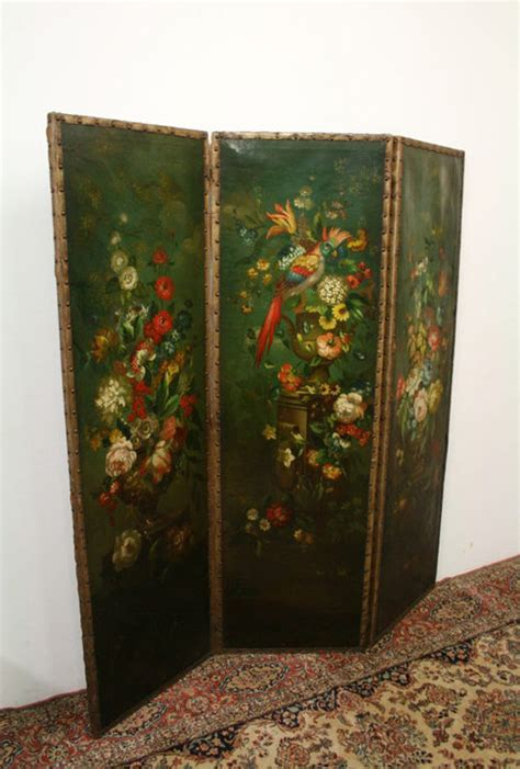 Victorian Leather Painted Screen - Antiques Atlas