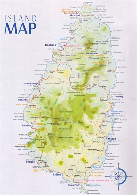 Detailed Map of St Lucia