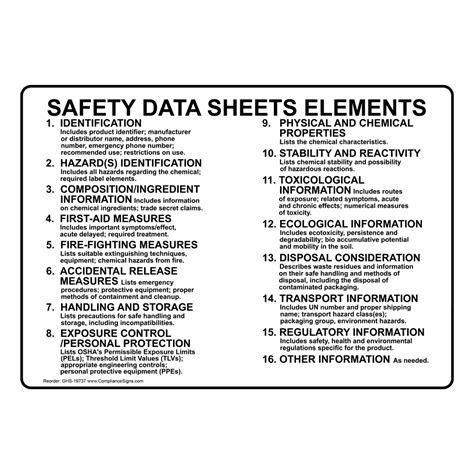 Safety Data Sheets Elements Sign GHS-19737 MSDS / Right to