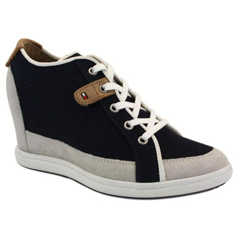 Tommy Hilfiger Stella 2 Womens Laced Canvas & Suede Wedge
