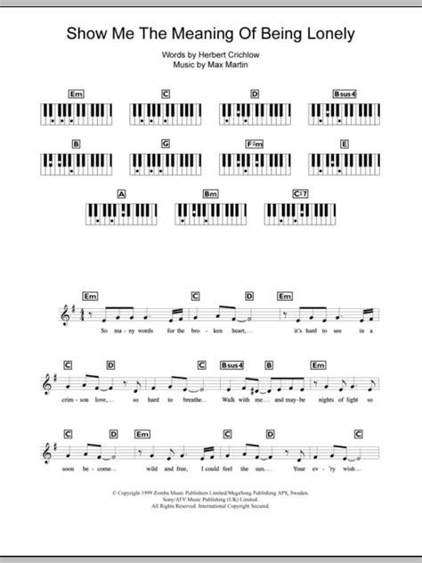 Show Me The Meaning Of Being Lonely | Sheet Music Direct