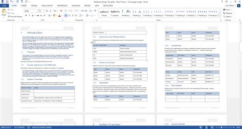Database Design Document (MS Word Template + MS Excel Data