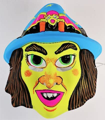 Vintage Witch Halloween Mask 1970s 1980s Green Witch