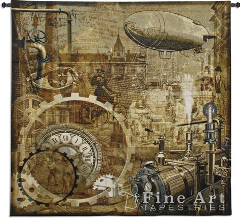 """Steampunk Tapestry Wall Hanging - Art Reproduction, H51"""" x"""