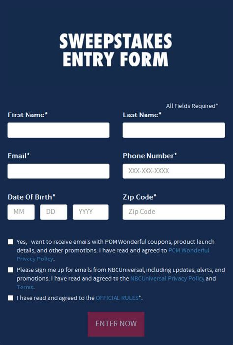Sweepstakes Entry Form At NBC