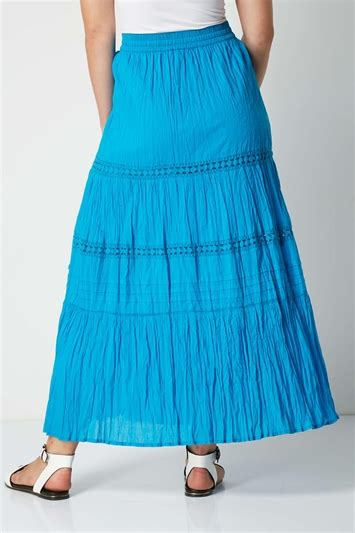 Tiered Gypsy Maxi Skirt in Turquoise - Roman Originals UK