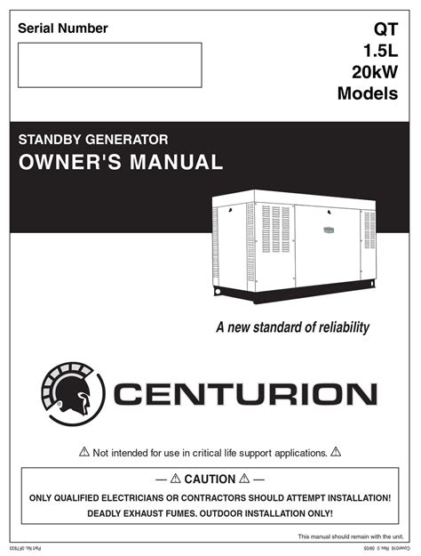 GENERAC POWER SYSTEMS 20KW OWNER'S MANUAL Pdf Download