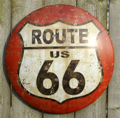 Route 66 Tin Metal Round Sign RT Country Vintage Style