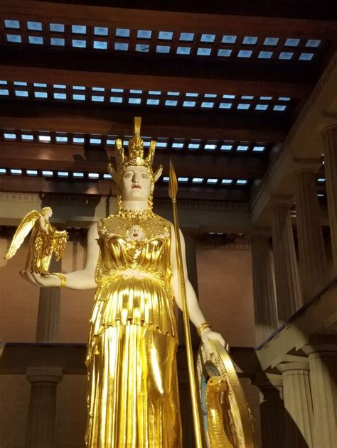 Gold leaf covered statue of Athena inside the Parthenon in