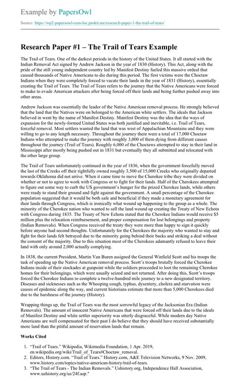 Research Paper #1 – The Trail of Tears - Free Essay