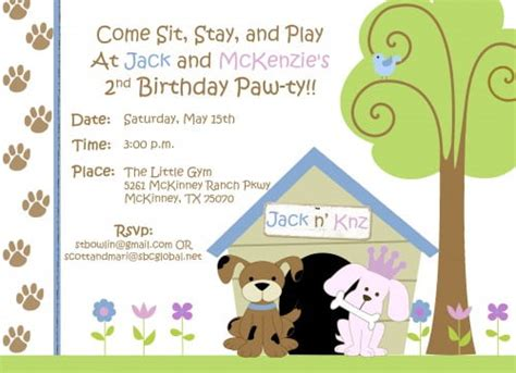 FREE Dog Themed Birthday Party Invitations Template   FREE